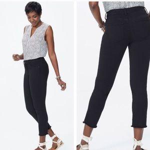 Nydj Sheri black slim frayed hem ankle jeans